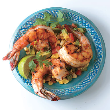 Grilled Shrimp with Avocado Corn Cocktail